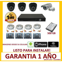 Cctv Kit Dvr 8 Canales + 4 Camaras De Seguridad Disco 500gb