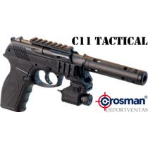 Pistola Crosman C11 Tactical Super Potente 550 + Mira Laser