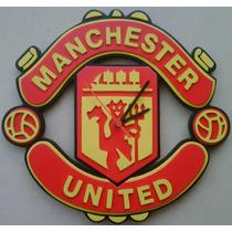 Reloj Pared Manchester U En Madera !!!detalles En Relieve..