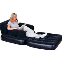 Silla Cama Inflable Con Bomba Bestway Color Oscuro Y Acidos
