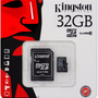 Memoria Micro Sd Kingston 32 Gb Clase 10 Veloz + Adaptador