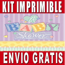 Kit Imprimible Baby Shower Diseña Invitaciones Y Tarjetas