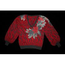 Sweater Vintage / Buzo Rojo Y Gris / Cuello V / Retro / Lana