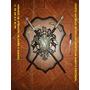 Escudo De Espadas Cruzado En Acero Y Madera Para Decoracion