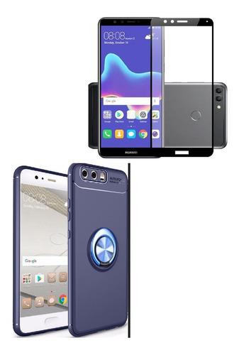 Kit Ring Case Protector Lujo Huawei  Y9 2018 Azul+ Vidrio Ng