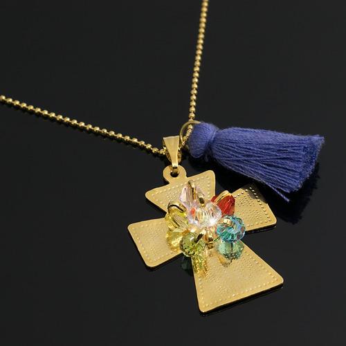 83414285803e Collar Mujer Cruz Bronce Baño De Oro 24 K Con Swarovski