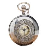 Hermoso Reloj De Bolsillo Plateado Grande Unisex Lindo