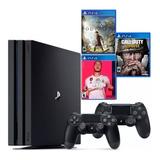 Ps4 Pro 4k, 2 Controles, Fifa 20, Call Of Duty, Assassins