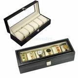 Caja Organizadora 6 Relojes Forrada En Cuero Vidrio Regalar