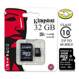 Memoria Kingston Micro Sd 32 Gb Clase 10 80 Mb/seg Original
