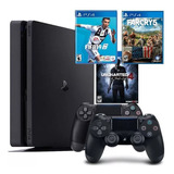 Playstation 4 + 2 Controles, Fifa 19, Farcry 5, Uncharted 4