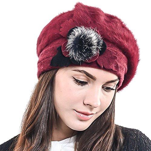 F n Story Boina De Invierno Francesa Lana Mujer Rojo Angora c6d6b626cd6