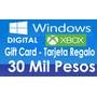 30 Mil $ Tarjeta Regalo Gift Card Tienda Windows Xbox Store
