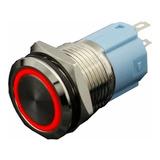 Interruptor Pulsador De Lujo Luz Rojo 16mm Metálico 110vac