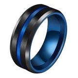 Anillo Argolla Acero Inoxidable Color Negro Azul Para Hombre