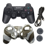 Control Dualshock + Forro + Grips + Cable Sony Ps3 Negro
