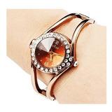 Reloj Dama Metalico Pulsera De Diseño Redondo Dorado