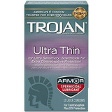 Trojan Condón Sensibilidad Ultra Delgado Espermicida, 12