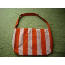Cartera Fabricada En Tela Color Naranja-blanco