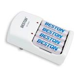 Cargador Beston Con 4 Baterias Aa Recargables De 3000 Mah