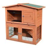 Pawhut 40 Jaula De Conejo De Madera Pequeño Animal Casa