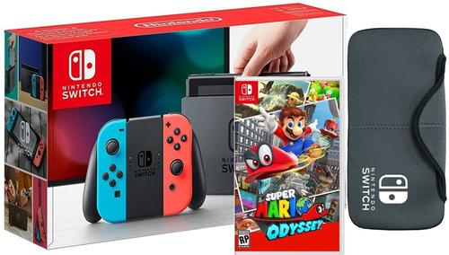 Nintendo Switch Neon + Super Mario Odyssey Fisico + Estuche