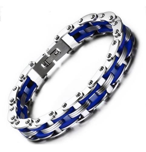 d7eb829cd564 Pulsera Azul Para Hombre Cadena Moto En Acero Y Silicona