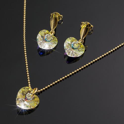 46db96ec04ed Collares Aretes Corazon Swarovski Boreal Cadena Oro Gf Mujer