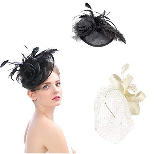 Cosweet 2pcs Tocados Tops Sombrero Para Niñas Y Mujeres Plu 34dea5bc9cf