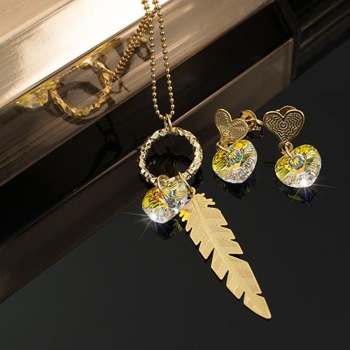3f2d9c63657e Collar Mujer Aretes Corazones Swarovski Boreal Cadena Oro Gf