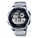 Reloj Casio Ae-1000wd Acero Alarma Mapa Mundi 100% Original