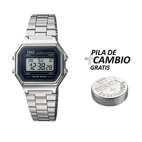 9e0bca200d24 Reloj Q q Digital Metalico Original M173j001y + Gratis Pila