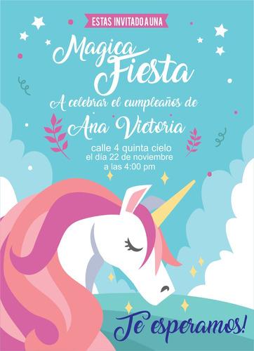Invitacion Unicornio Tarjetas Personalizadas Kit Imprimible