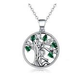 Collar Árbol De La Vida Verde Para Mujer Dama En Plata 925