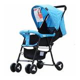 Coche Paseador Para Bebés Ultra Liviano Reclinable Azul Gris