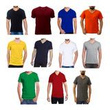 Camisetas Cuello En V Color Algodón 180 Gramos