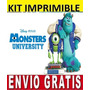 Kit Imprimible Monster Inc University Diseña Invitaciones