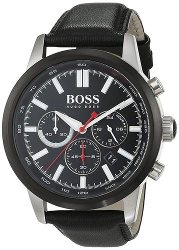 b100ccc1b2d9 Hugo Boss 1513191 Reloj De Cuero Para Hombre Negro Dia.