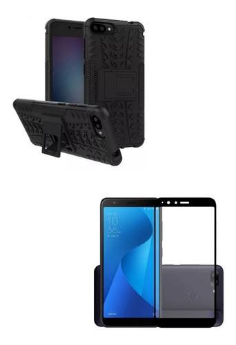 Kit Armadura Asus Zenfone 4 Max Plus 5.7 Negro+ Vidrio Neg