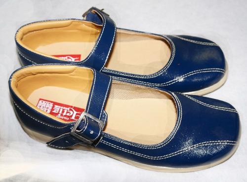 Zapatos Colegiales Escolares Azul Oscuro Suela Amarilla Niña aac4283a239