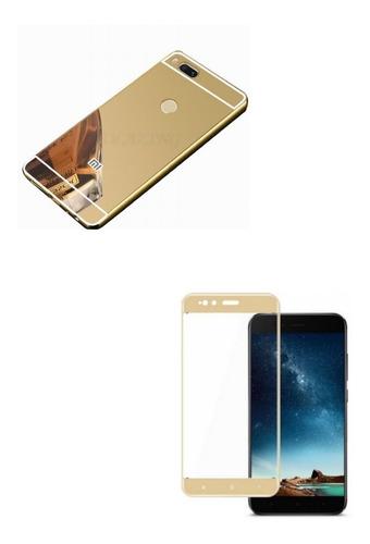 Kit Bumper Aluminio Dorado + Vidrio 3d Dorado Xiaomi Mi A1