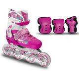 Combo Patines Canariam Roller Pink + Kit De Protección C4