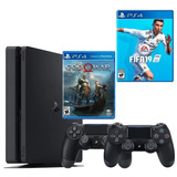Playstation 4 Slim 2 Controles +  Fifa 19 + God Of War 4