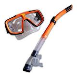 Snorkel + Mascara De Buceo Careta Profesional Doble Valvula