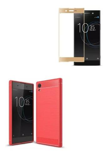 Kit Protector Sony Xperia Xa1 Plus Rojo + Vidrio Dorado