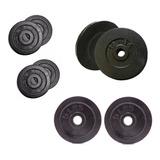Set Pesas 40 Libras Kit 8 Discos  Barras-mancuernas  Gym