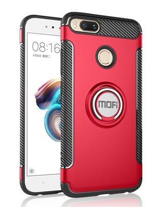 Kit Estuche Ring Case Xiaomi Mi A1 / 5x Rojo + Vidrio Negro