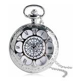 Hermoso Reloj De Bolsillo Plateado Grande Lindo Moda Unisex