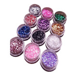 Glitter Uñas X12 Hexágonos, Rombos, Puntos, Escarcha, Caviar
