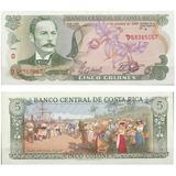 Billete Costa Rica 5 Colones 1990 Papel Moneda Au